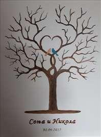 Drvo otisaka za venčanja, ulje na platnu