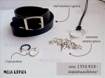 Crno srebrni Komplet nakita
