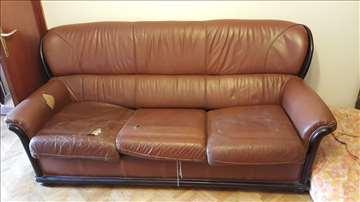 Kožni dvosed i fotelja