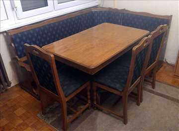 Trpezarijska ugaona garnitura, sto+3 stolice