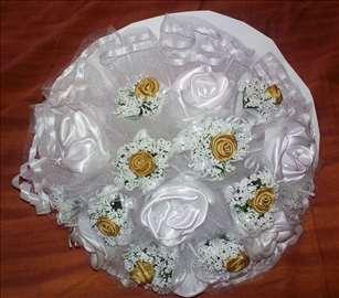 Bidermajer - zlatne i bele ružice