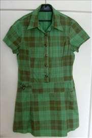 Karirana letnja haljinica zeleno-braon boje (NOVO)