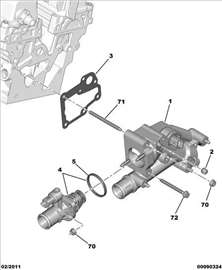 Citroen C4 I 2.0B 16V Kuciste Termostata, NOVO