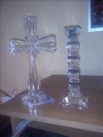 Na prodaju svećnjak i krst od kristala ručni rad