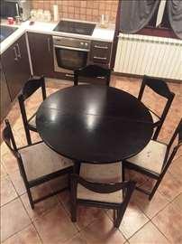 Polovan trpezarijski sto  sa 6 stolica