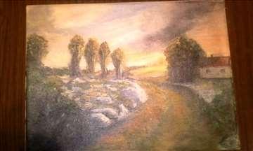 Ulje na platnu Krajinsko selo