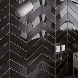 Chevron wall black mat 18,6x5,2