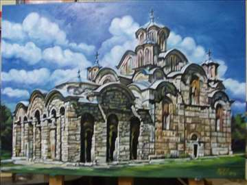 """""""Manastir Gračanica"""" slika, ulje na platnu"""