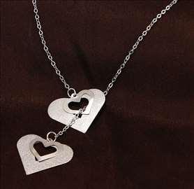 4 srca - ogrlica sa priveskom - srebrna