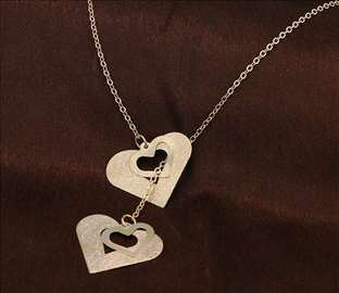 4 srca - ogrlica sa priveskom - zlatna