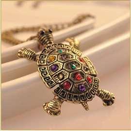 Kornjača - ogrlica od mesinga, Swarovski kristali