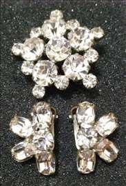Pahulja broš i minđuše, beli Swarovski kristali