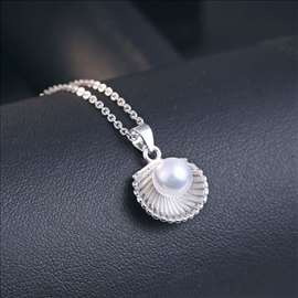 Školjka i biser - ogrlica sa priveskom - srebrna