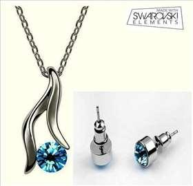Swarovski set - ogrlica i minđuše - svetloplave