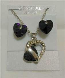 Swarovski set - ogrlica i minđuše - tamnolila srca