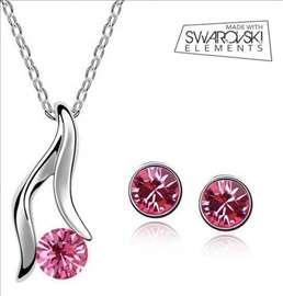 Swarovski set nakita- ogrlica i minđuše - pink