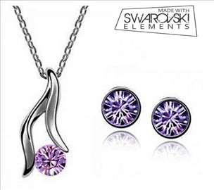 Swarovski set nakita - ogrlica i minđuše - roze