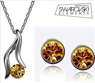 Swarovski stet nakita - ogrlica i minđuše - žute