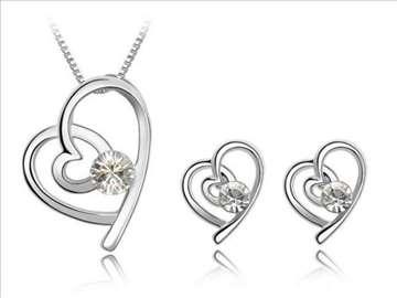 Swarovski set, ogrlica i minđuše - beli kristali