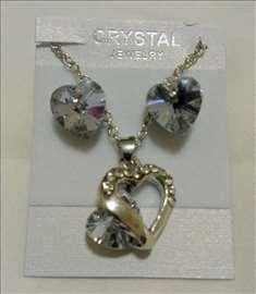 Swarovski set, ogrlica i minđuše, svetlolila srca