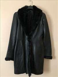Italijanski kožni kaput sa zečijim krznom