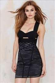 Nasty Gal crna haljina za izlazak, xs