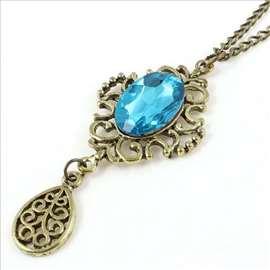 Ogrlica od mesinga sa plavim Swarovski kristalom