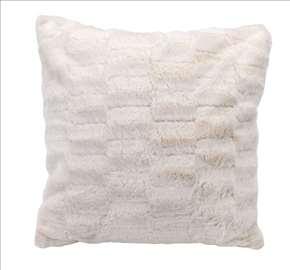 Ukrasni jastuk od veštačkog krzna beli