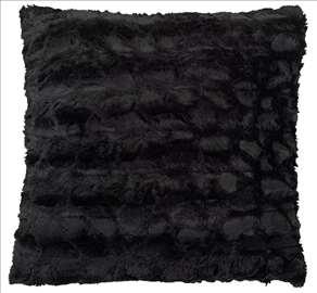 Ukrasni jastuk od veštačkog krzna crni