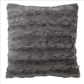 Ukrasni jastuk od veštačkog krzna sivi