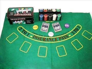 Poker chips 200kom(kutija+ karte+podloga)