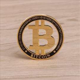 Bitcoin novčić-kovanica, Pozlata+emajl u kapsuli