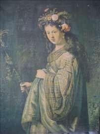 Rembrant Flora reprodukcija na platnu