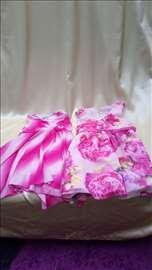Haljine letnje roza i bela bez rukava
