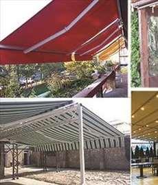 Zatvaranje terasa i bašta folijom, tende, pergole