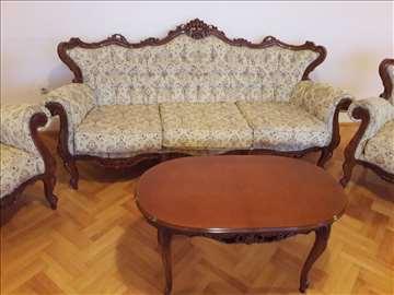 Stilski trosed, 4 fotelje i stočić