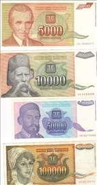Komplet novčanica NBJ iz 1993. godine - hiperinfla