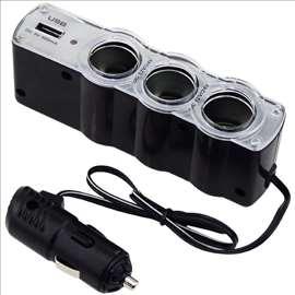 Produzni za upaljac za automobil 3rupe+1 USB port