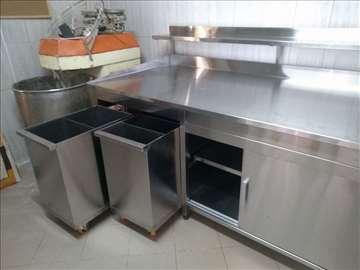 Inox radni stolovi sa kolicima za začine - po meri