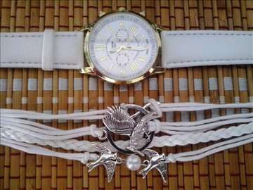 Geneva LUXURY Ženski sat i narukvica bela + POKLON