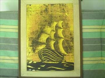 Brod na moru - ulje na speru