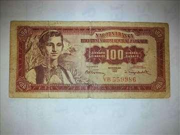 100 dinara , 1955 godina