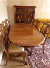 Stilski nameštaj, sto sa 6 stolica