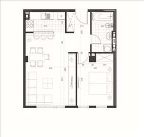 Dvosoban, svetao stan, A blok, 50m2