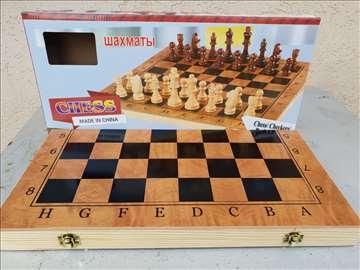 Šah drveni šahovski set sa figurama 3u1 novo