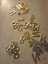 Slova, metalna, mesing za krst i sanduk pokojnika