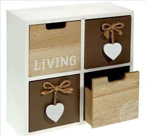 Drvena kutija sa dekorativnim fiokama 23x10x24 cm