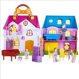 Kuća za lutke sa nameštajem i figurama
