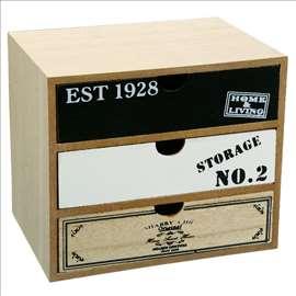 Dekorativna drvena kutija sa fiokama 20x15x18cm