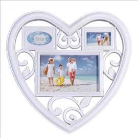 Ram za slike za 3 fotografije Srce